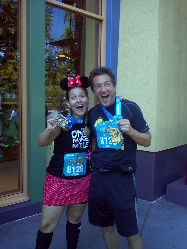 Running the Disneyland Half Marathon. Can't you tell by our faces? Happy places.