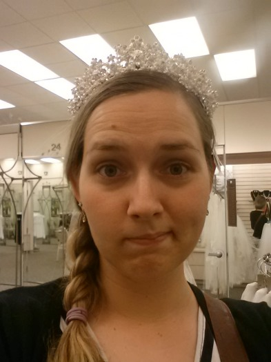 In other news, I tried on a sparkly tiara. So not my style, but it was pretty. And sparkly. And I felt like a princess. Totally get the tiara thing.